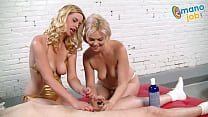 Two blonde whores make out and jerk a dude off then take multiple cum blasts to the face!