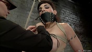 Gagged lesbian gets big tits bound