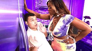 Stepson gets punished by his big black stepmom - ebony porn 5 min