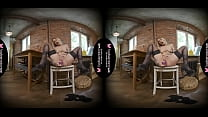 Solo blonde woman, Eva Kortez is using a sex toy, in VR
