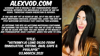 Hotkinkyjo long dildo from sinnovator, belly bulge, fisting, anal gape & prolapse
