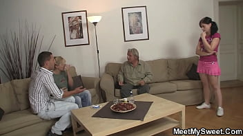 Taboo family threesome with old couple and teen