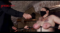 She's receiving hard strokes on her poor slave flesh