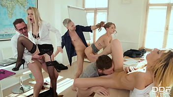 Extra Help After School When Professors Have Orgy with Comely Coeds 13 min