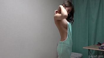 Naked slender girl wears revealing clothes 2 min