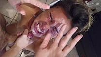 Girl orgasms multiple times and in all positions. (at 7.4, 22.4, 37.2). BLOWJOB FEET UP with epic huge facial as a REWARD  - FRENCH audio