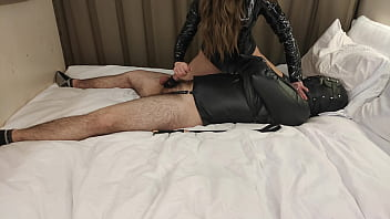 Leather Bondage, Facesitting & Teasing By Femdom Mistress In Thigh High Boots