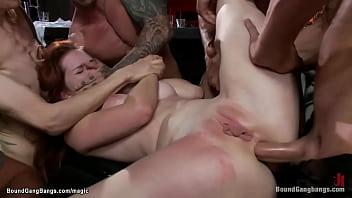 Slut anal gangbang fucked in biker bar
