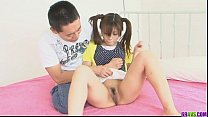 Ponytailed Asian chick shaved and nailed by two dicks