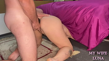 I was looking for my dildo and I got stuck under the bed and my husband broke my ass
