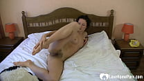 Seductive girlfriend plays with her hairy slit