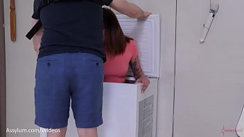 Big ass PAWG babe gets extremely rough anal pounding and ass to mouth in freezer until she is crying