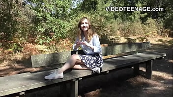 shy teen shows hairy pussy in public