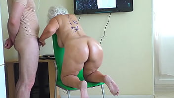 Mom stood on a chair and took son dick