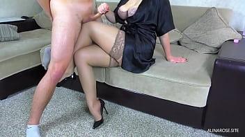 Cum on legs in stockings StepSister 7 min
