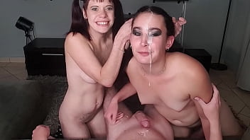 FFM dick sucking | one girl spits cum in other girl's face | Smoking threesome cock sucking