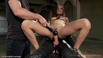 Brunette ass fucked in pile driver