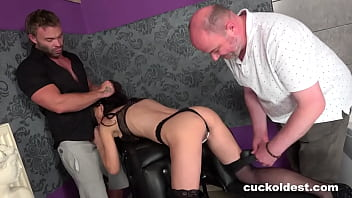 Husband eats my cum after fucking his wife