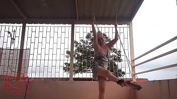Depraved housewife swinging with panties on a swing  Upskirt