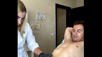 Deep bikini waxing and a candid interview for a Russian webcam model