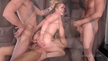 First DP Three Cocks for Alika Alba - Pissing, Drinking   Squirting - Hard Anal Fuck VK086