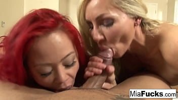 Hot POV double blow job on a big spanish dong!