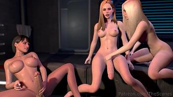 FUTA THREESOME Lesbian FUTANARI Dickgirls Handjob & Blowjob | 3D HENTAI