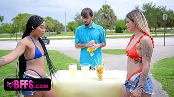 Beautiful White, Asian & African American Besties Serve Lucky Stud A Cold Lemonade And A Hot Blowjob