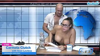 Big Boobs MILF sucks and fucks during live news feed