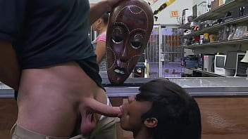 XXX PAWN - Lexxi Deep Rides White Big Cock While Wearing Wooden African Mask 11 min