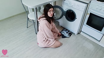 My Step Sister was NOT stuck in the washing machine and caught me when I wanted to fuck her pussy