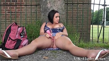 Outdoor masturbation of sexy amateur milf showing shaved pussy in public and fla 5 min