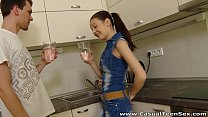 Casual Teen Sex - Casual fucking Timea Bella in a kitchen