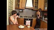 Kinky and wild kitchen sex