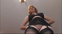 Mature blonde babe in stockings and open girdle
