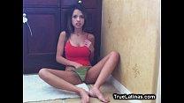 Fit Teen Latina Masturbates Pussy on Cam