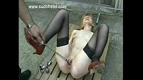 Hot and horny slave is spanked on her ass and pussy by master