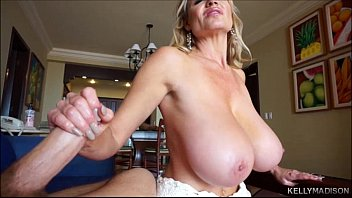 Huge Titted Wife Kelly Madison Strokes and Sucks Cum From Hubbys Cock