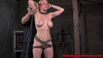 BDSM sub Darling tormented with ropes