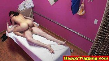 Real jap masseuse tugging customers dick