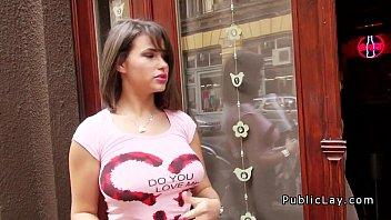 Natural huge tits waitress fucking pov where she works