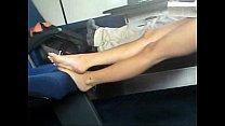 Candid Israeli girl's feet on train