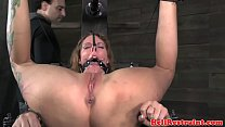 Spreadeagle suspended slave caned and toyed