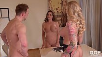 Busty milf Kayla Green & hot lawyer Cathy Heaven in XXX office threesome