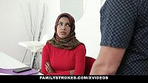 Family Strokes - Stepsister (Maya Farrell) Learns To Suck My Cock In Her Hijab