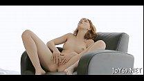 Solo gal stimulates milk sacks and twat