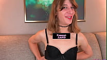 Amateur femboi strips down and toys her ass