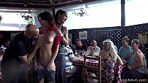 Two sluts public fucked in crowded restaurant