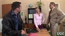 XXX office threesome with petite blonde Cloe gives her chills of pleasure