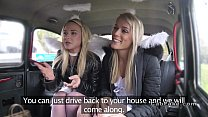 Two blonde angels sharing cock in fake taxi